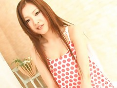 Suzuka Ishikawa with funny dress has peach pleasured with tongue