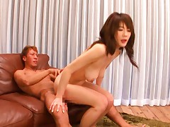 Erika Kirihara tits bouncing as she sits on his cock and fucks