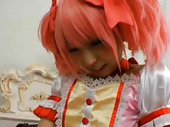 Chika Arimura Asian with pink hair and dress gets finger in mouth