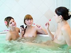 Sexy naked college chiks fuck in sauna party