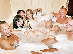Sauna orgy with hot girls after Jacuzzi bath