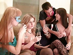 Wild drunk party porn movie with horny chicks
