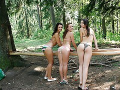 Bikini girls fuck at outdoor sex party