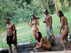 Crazy sex party in the forest with cumshot