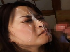Yuu Haruka gets a messy facial after sucking his hard cock