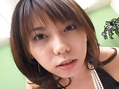 Maho Sawai Cute Japanese babe lovingly sucks her guy's cock at home