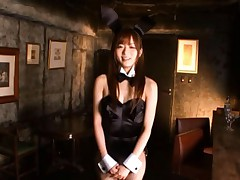 Yuu Asakura Asian in black bunny uniform has ass in black fishnet