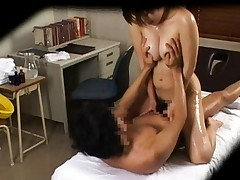 Japanese AV Model has big and oiled boobs fondled in dick riding