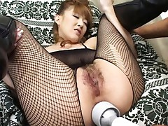 Aya Sakaki's cunt is fingered and her asshole is vibrated