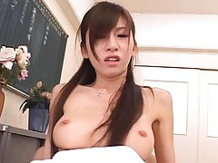 Rino Tomoa lovely tits bouncing while he slams his cock into her