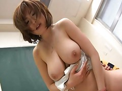 Rio Hamasaki Asian teacher with big tits gets a doggy style fucking in class