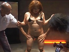 Mirai Haneda Asian gal in sexy thong is lubed for bukkake with many men