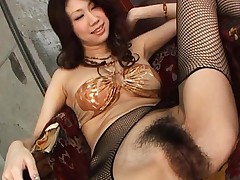 Fuuka Takanashi in black crotchless fishnet pantyhose