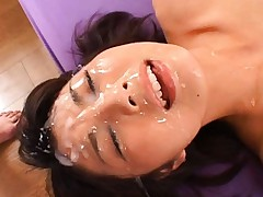 Azumi Harusaki is forced to orgasm as they cum all over her face