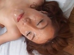 Japanese AV Model face covered in cum after sucking their cocks