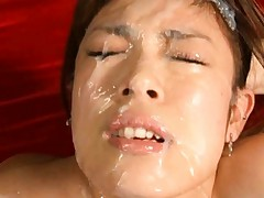Chloe Fujisaki messy facial in this hot bukkake video