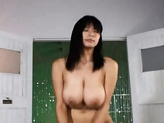 Japanese AV Model with huge tits mounts up for a cock ride