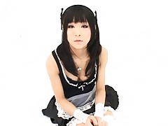 Chika Ishihara in a maid uniform with a few male lovers