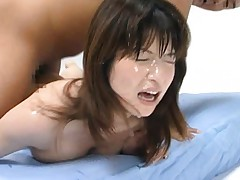Ann Nanba bent down and anally fucked by a man