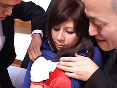 Christel Takizawa has two guys playing with her lovely tits