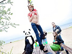 Hot college group orgy with funny Panda bear