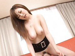 Japanese AV Model with nude big boobs rides cock with wet twat