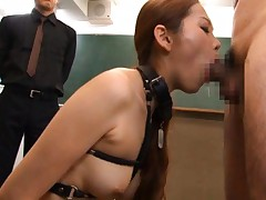 Asami Ogawa Asian with tits in leather strips rides phallus