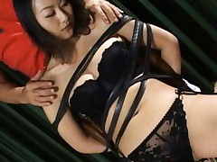 Rei Aoki Asian in lack sexy lingerie is tied in leather strips