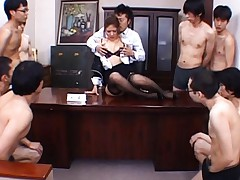 Aya Matsuki sexy business woman about to be gang banged