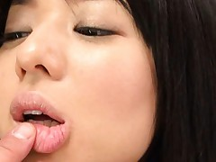 Sora Aoi Asian in black sexy lingerie is kissed and fondled