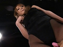 Sena Aragaki Asian has pussy teased with vibrator over stockings