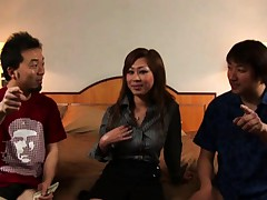 Japanese AV Model in a hotel room with two guys in this video