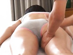 Sana Asian has hot ass cheeks massaged with oil under scanty