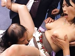 Natsumi Kitahara has nasty boobs fondled and nooky licked in orgy