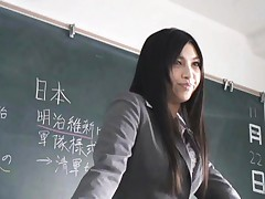 Saori Hara Asian is followed and touched by her students on bus