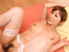 Kaho Kasumi Asian in sexy white lingerie gets sperm on her face