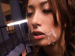 Honoka has cum dripping off her face after he cums on her