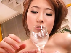 Yui Misaki Asian with big cans drinks fresh sperm from glass