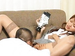 Akira Shiratori in stockings records on tape man licking her cunt