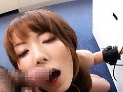 Yui Hatano Asian with leather bangles gets sperm on her face