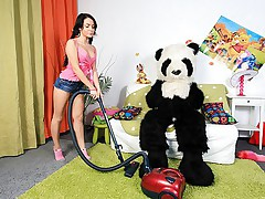 Panda fucks girl by his big sex toy