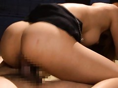 Asuka Sawamoto with round big hooters jumps on dick for deep fuck