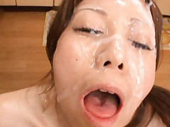 Chihiro Akino Asian gets lots of cum all over face and forehead