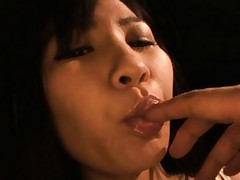 Yukina Narumi hottie gets fingers in her mouth and shows hot ass