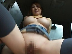 Momoka Nishina exposes her big tits and pussy for a car fucking