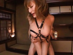 Kirara Asuka Asian in black leather strips has dicks in holes