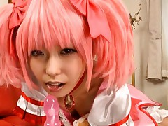 Chika Arimura Asian in pink dress and with cute hair licks dildo