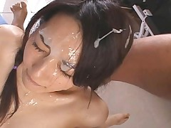 Sae Mizuki Asian gets sperm on face and sexy pigtails after fuck