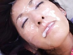 Rei Shina Asian face is flooded by so much white cum