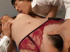 Yuki Mami Asian has hairy cunt and juicy jugs fondled by two men